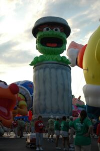Sesame Street's Oscar the Grouch waits for the start of the Canton Pro Football Parade
