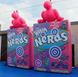Wonka Candy Inflatable Nerds Boxes, an interactive display inviting visitors to compete by hitting velcro targets.