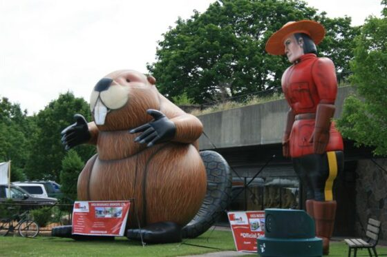 Beaver and Mountie Inflatable