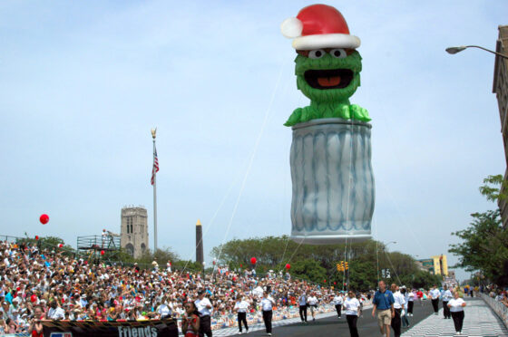 Oscar the Grouch Santa Parade Balloon