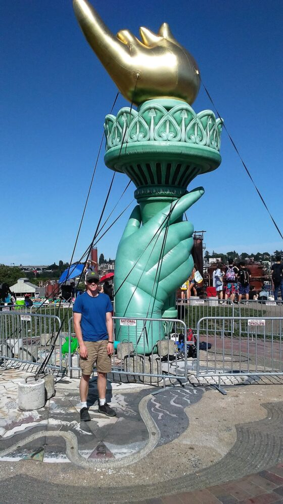 Statue of Liberty torch and hand in Seattle
